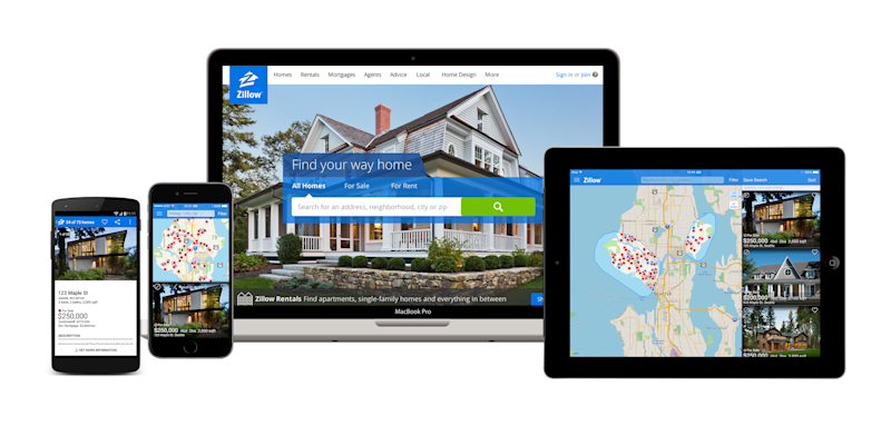 Zillow app displayed on multiple platforms