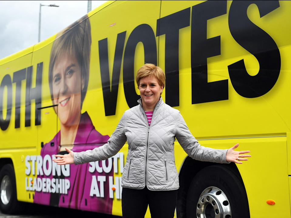 Nicola Sturgeon poses for a photograph as she campaigns in Glasgow (ANDY BUCHANAN/POOL/AFP via Getty Images)
