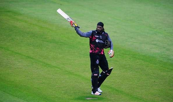 TAUNTON, UNITED KINGDOM - JUNE 19: Chris Gayle of Somerset salutes the crowd after being dismissed during the Natwest T20 Blast match between Somerset and Hampshire at The Cooper Associates County Ground on June 19, 2016 in Somerset, United Kingdom. (Photo by Harry Trump/Getty Images)