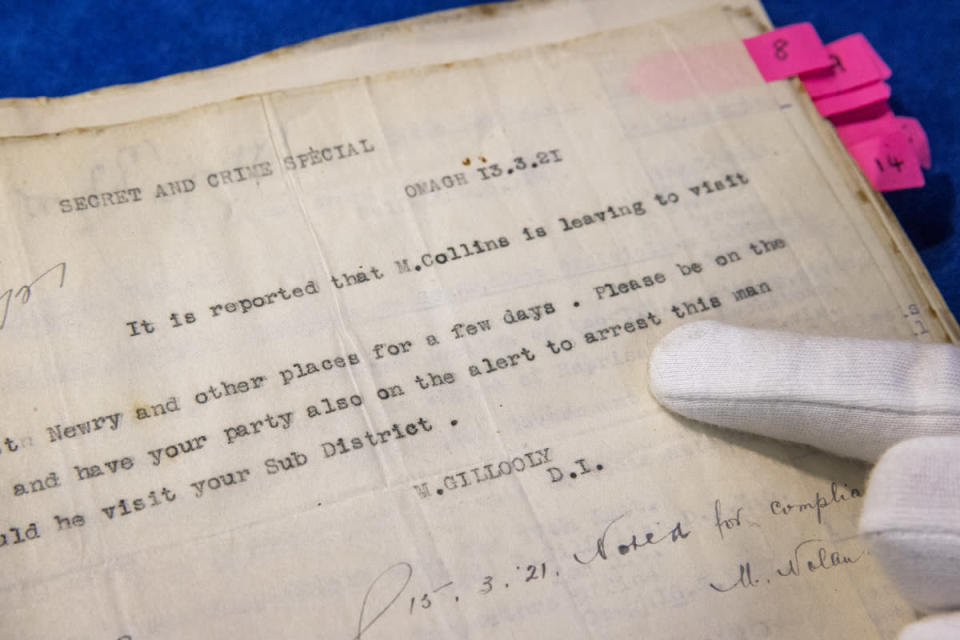 Royal Irish Constabulary documents detailing the movements of Michael Collins in 1921 (Liam McBurney/PA)