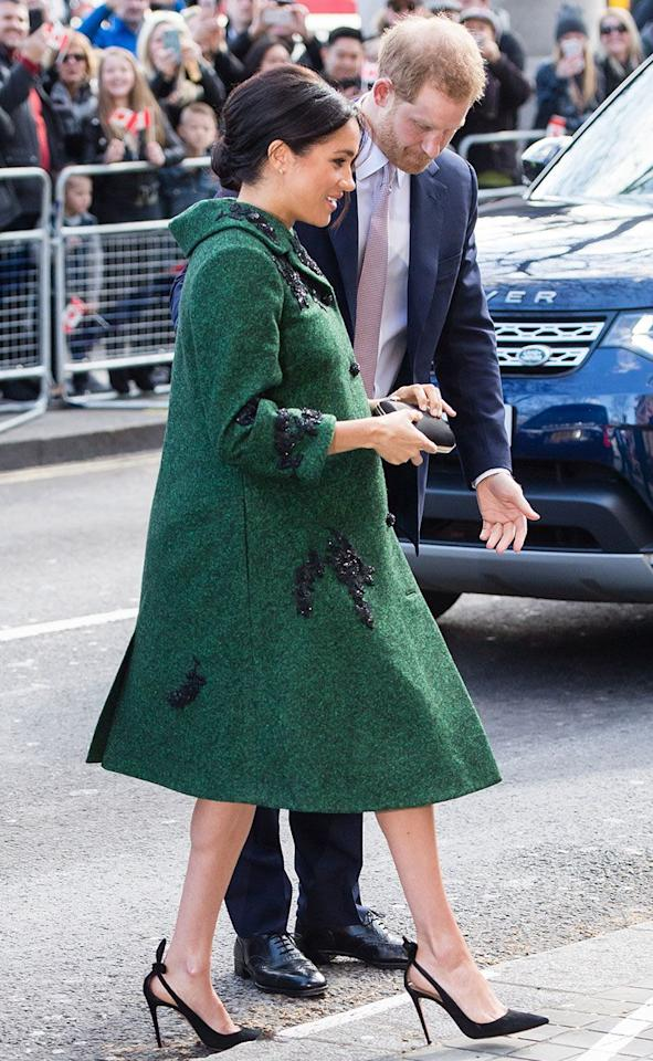 "<p>Meghan Markle just casually wore the coat of our dreams during a day of engagements with Prince Harry. The heavily pregnant Duchess chose a custom Erdem coat with matching green dress, which she wore with court shoes by go-to brand Aquazzura. And if the colour looks familiar, that might be because <a rel=""nofollow"" href=""https://www.cosmopolitan.com/uk/fashion/celebrity/g3517/kate-middletons-outfits-style-fashion/"">Kate Middleton has been wearing it a lot recently</a>. Looks like that <a rel=""nofollow"" href=""https://www.cosmopolitan.com/uk/fashion/a26759633/meghan-markle-kate-middleton-style-tips/"">style advice</a> is starting to rub off...</p>"