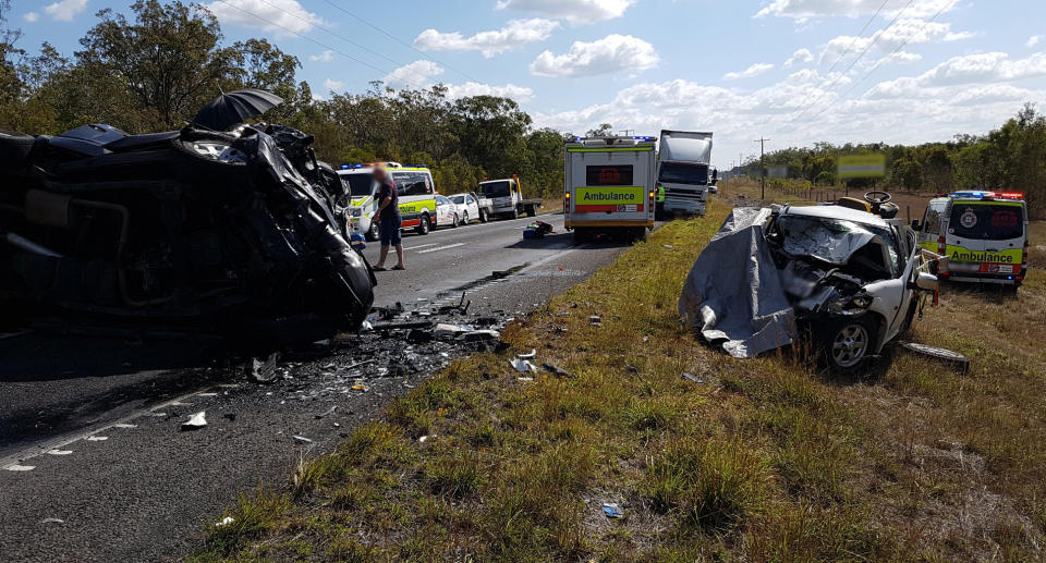 A two car crash is pictured on the Bruce Highway.