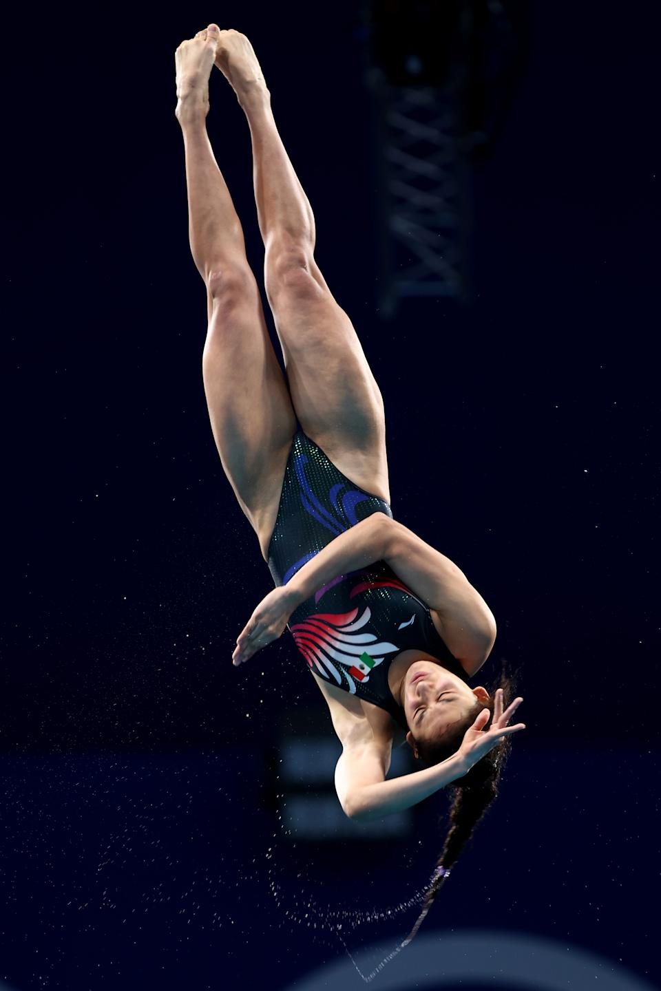 <p>Gabriela Agundez Garcia of Team Mexico competes in the Women's 10m Platform Final on day thirteen of the Tokyo 2020 Olympic Games at Tokyo Aquatics Centre on August 05, 2021 in Tokyo, Japan. (Photo by Clive Rose/Getty Images)</p>