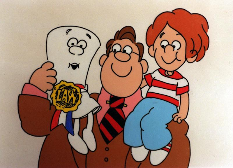 "A picture from animated series ""Schoolhouse Rock"" depicts bill of rights character and a child sitting on a man's shoulders"
