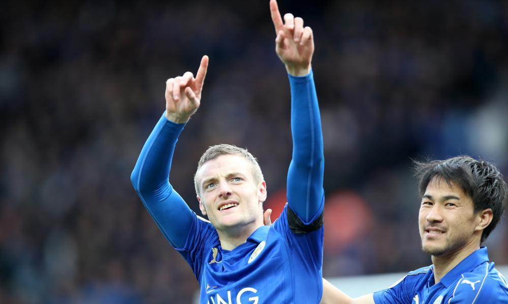 Jamie Vardy celebrates after scoring to make it 2-0 for Leicester against Stoke.