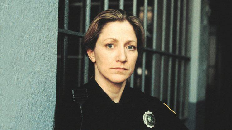 Edie Falco as Officer Diane Wittlesey on HBO's OZ. (Credit: HBO)