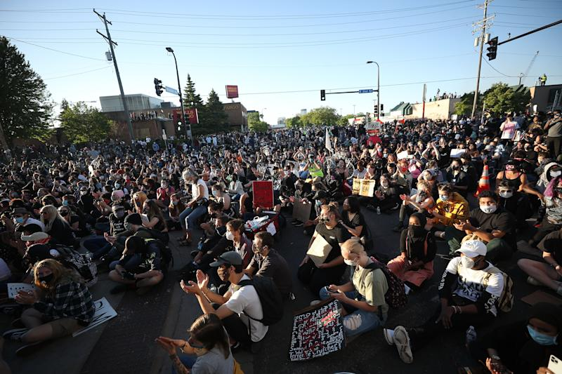 Protesters continue to rally in response to the death of George Floyd on May 30, 2020. in Minneapolis.