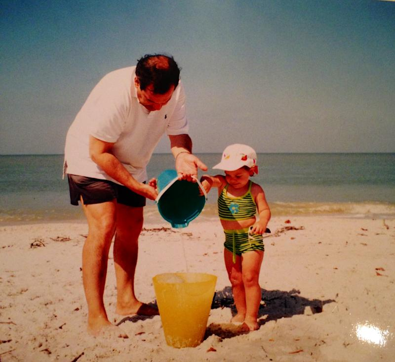 Me (wearing said tankini) with my father probably not even building a sandcastle and just pouring the fresh Miami water (which is now way more contaminated) into a bucket—I was an easily entertained child.