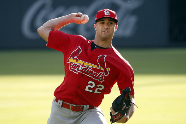 St. Louis Cardinals starting pitcher Jack Flaherty (22) throws in the outfield during a baseball practice Tuesday, Oct. 8, 2019, in Atlanta. Flaherty is scheduled to start for St. Louis when they face the Atlanta Braves in Game 5 of the NLCS Wednesday in Atlanta. (AP Photo/John Bazemore)