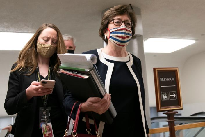 Republican US Senator Susan Collins arrives at the US Capitol for the fifth day of the second impeachment trial of former US President Donald Trump, on February 13, 2021, in Washington, DC. (Alex Edelman/AFP via Getty Images)