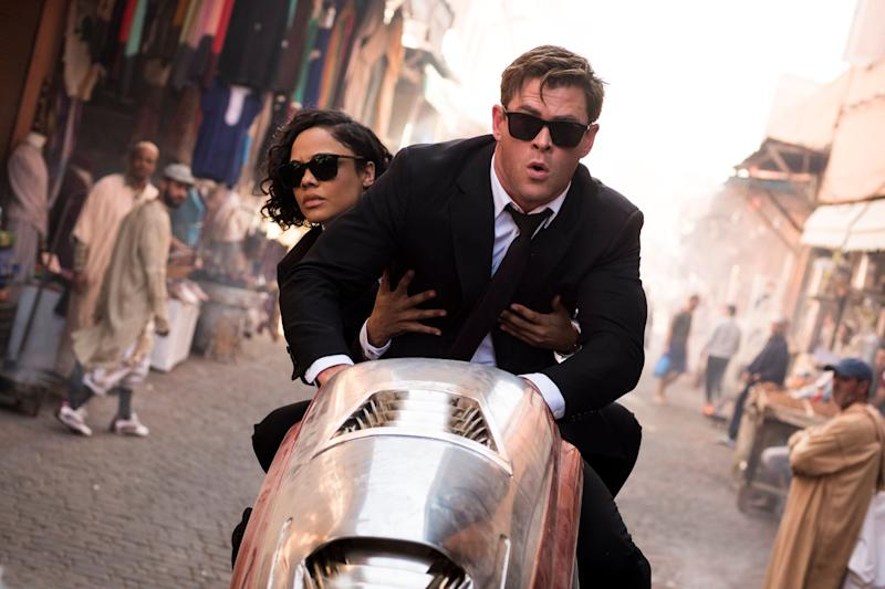 Chris Hemsworth (H) with Em (Tessa Thompson) in Marrakech in Columbia Pictures' MEN IN BLACK: INTERNATIONAL. (Sony Pictures)
