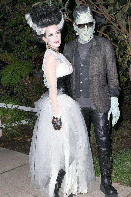 <p>As Frankenstein and his bride.</p>