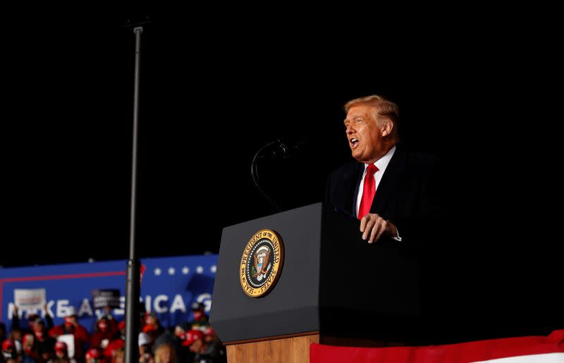 U.S. President Donald Trump holds a campaign event at the Central Wisconsin Airport in Mosinee, Wisconsin