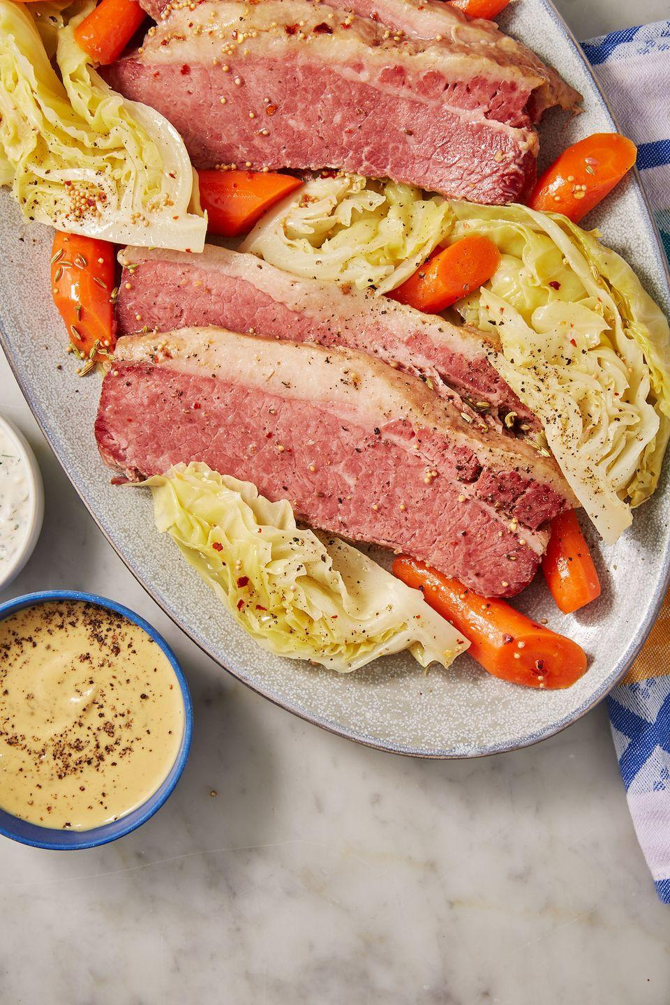 """<p>Just like the traditional — but made slightly healthier!</p><p>Get the recipe from <a href=""""https://www.delish.com/cooking/recipe-ideas/a30912758/keto-corned-beef-and-cabbage/"""" rel=""""nofollow noopener"""" target=""""_blank"""" data-ylk=""""slk:Delish."""" class=""""link rapid-noclick-resp"""">Delish. </a></p>"""