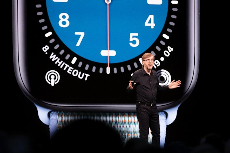 Apple's vice president of technology Kevin Lynch speaks during the keynote address at the company's annual gathering of developers, where software innovations and improvements touched the company's entire line-up including wrist-wear (AFP Photo/Brittany Hosea-Small)