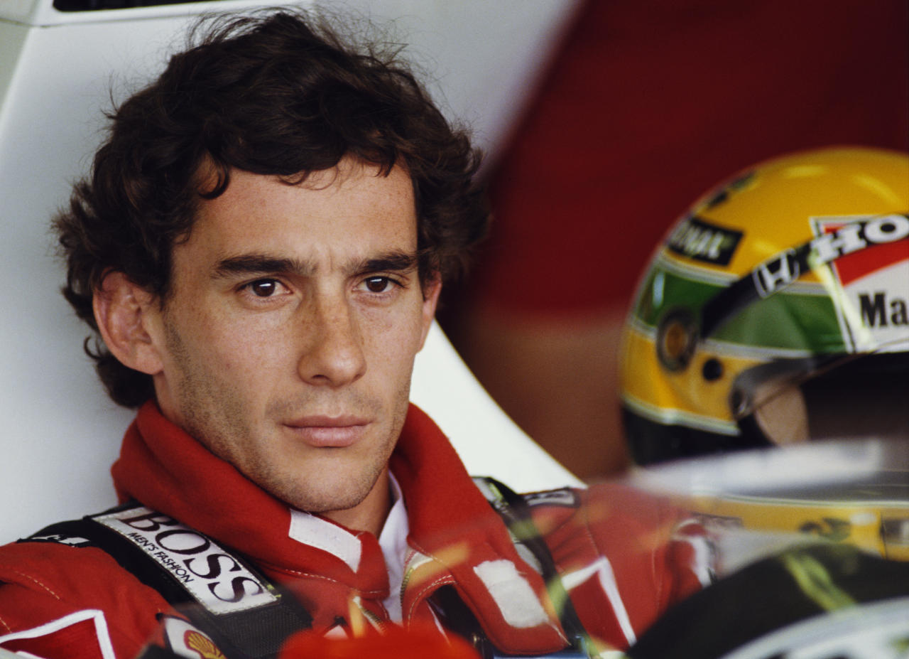 <p>Ayrton Senna of Brazil sits aboard Honda Marlboro McLaren during practice for the Hungarian Grand Prix in 1989. Senna died, aged 34, after crashing at the San Marino Grand Prix in 1994. (Pascal Rondeau/Getty Images) </p>