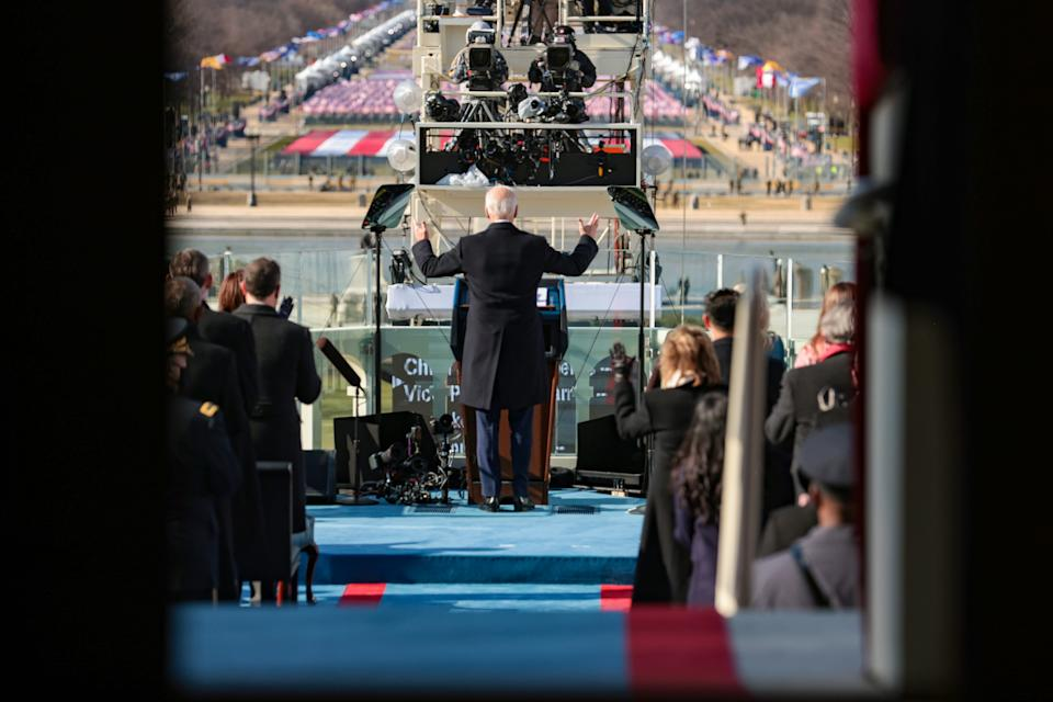 WASHINGTON, DC - JANUARY 20: U.S. President Joe Biden delivers his inauguration address on the West Front of the U.S. Capitol on January 20, 2021 in Washington, DC. During today's inauguration ceremony Joe Biden becomes the 46th president of the United States. (Photo by Win McNamee/Getty Images)