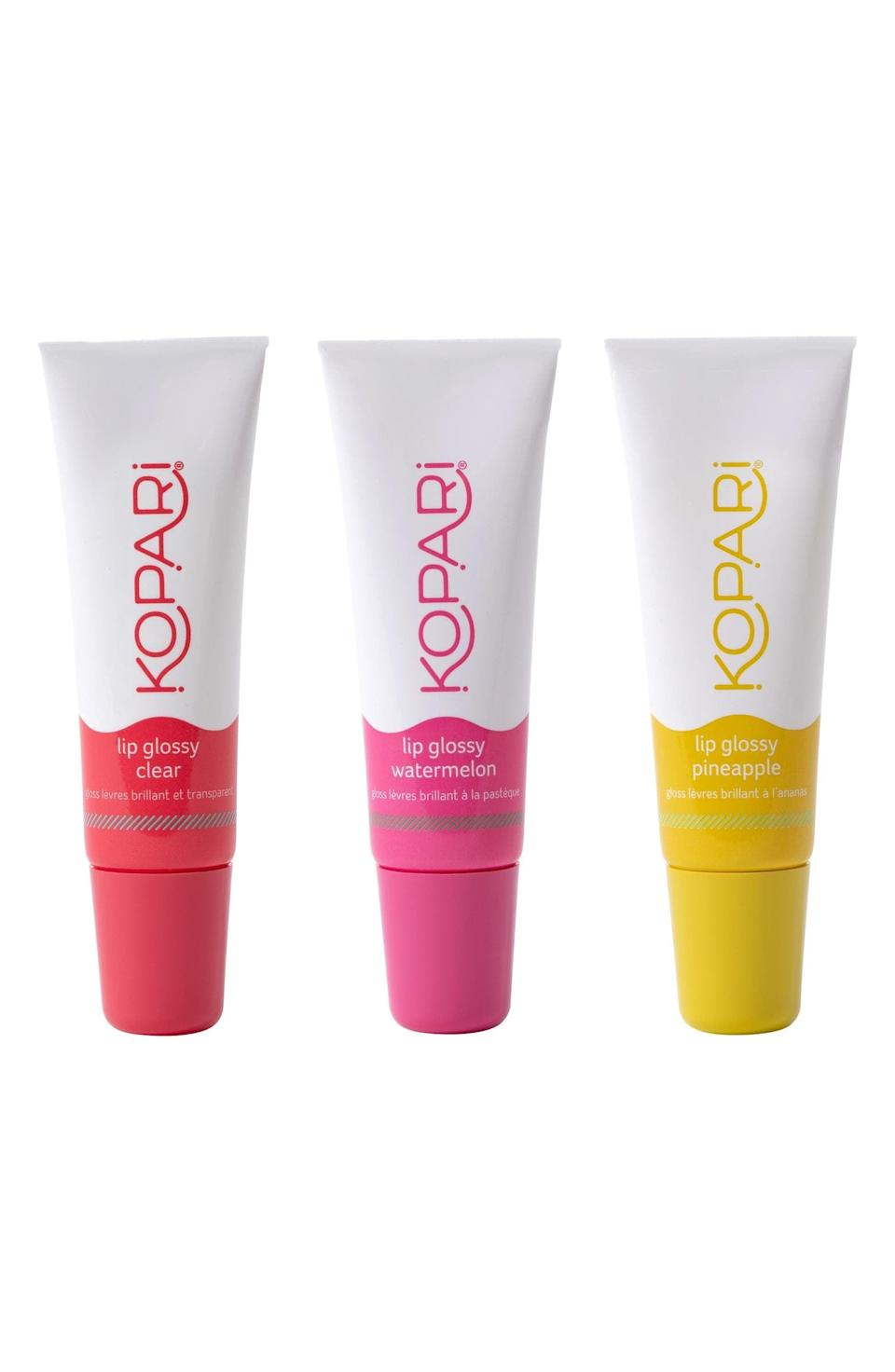 <p>Keep their lips hydrated and smelling like paradise with this <span>Kopari Paradise Pout Lip Kit</span> ($30).</p>