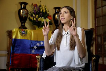 Fabiana Rosales, wife of Venezuelan opposition leader Juan Guaido, who many nations have recognized as the country's rightful interim ruler, speaks during an interview with Reuters at the Colombian embassy in Lima