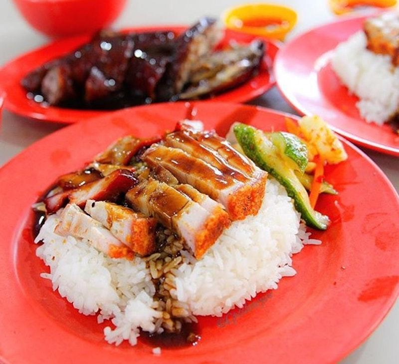 A plate of Char Siew & Roast Pork Belly Rice
