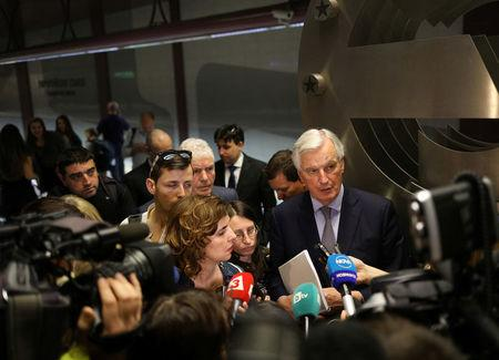 EU's chief Brexit negotiator Barnier speaks to the media in Sofia