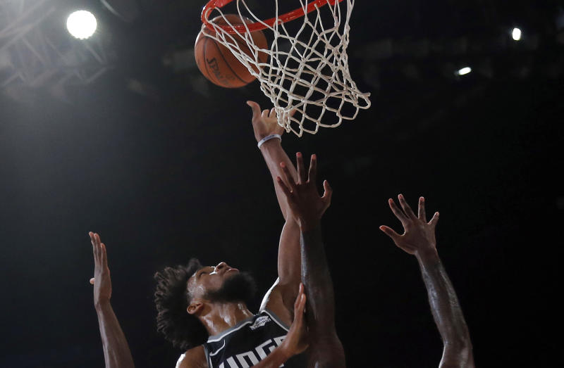 Sacramento Kings player Marvin Bailey III plays against Indiana Pacers during the NBA India Games 2019, in Mumbai, India, Saturday, Oct. 5, 2019. (AP Photo/Rajanish Kakade)
