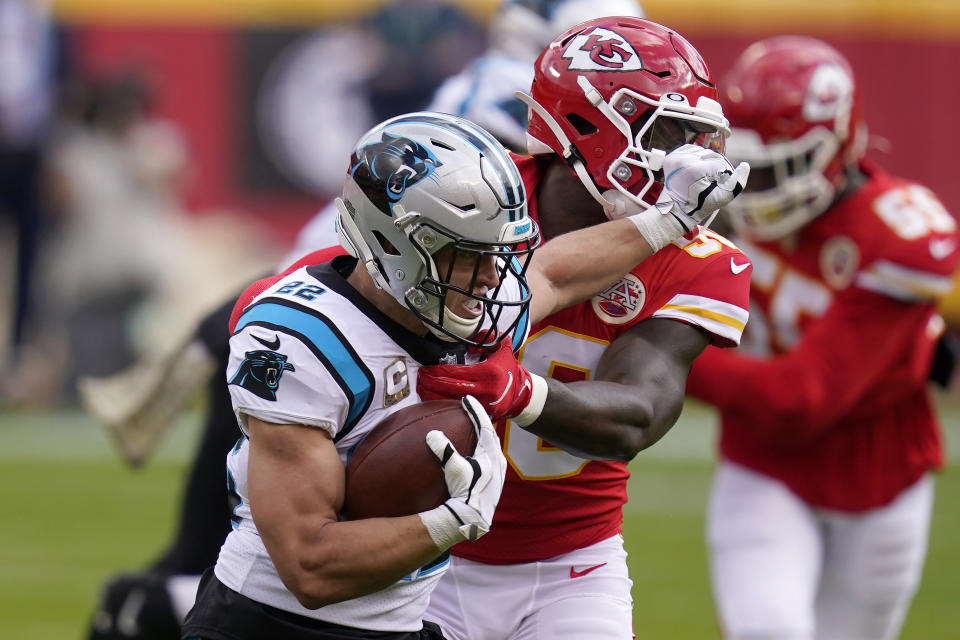 Carolina Panthers running back Christian McCaffrey scored on his first series back from injury. (AP Photo/Orlin Wagner)