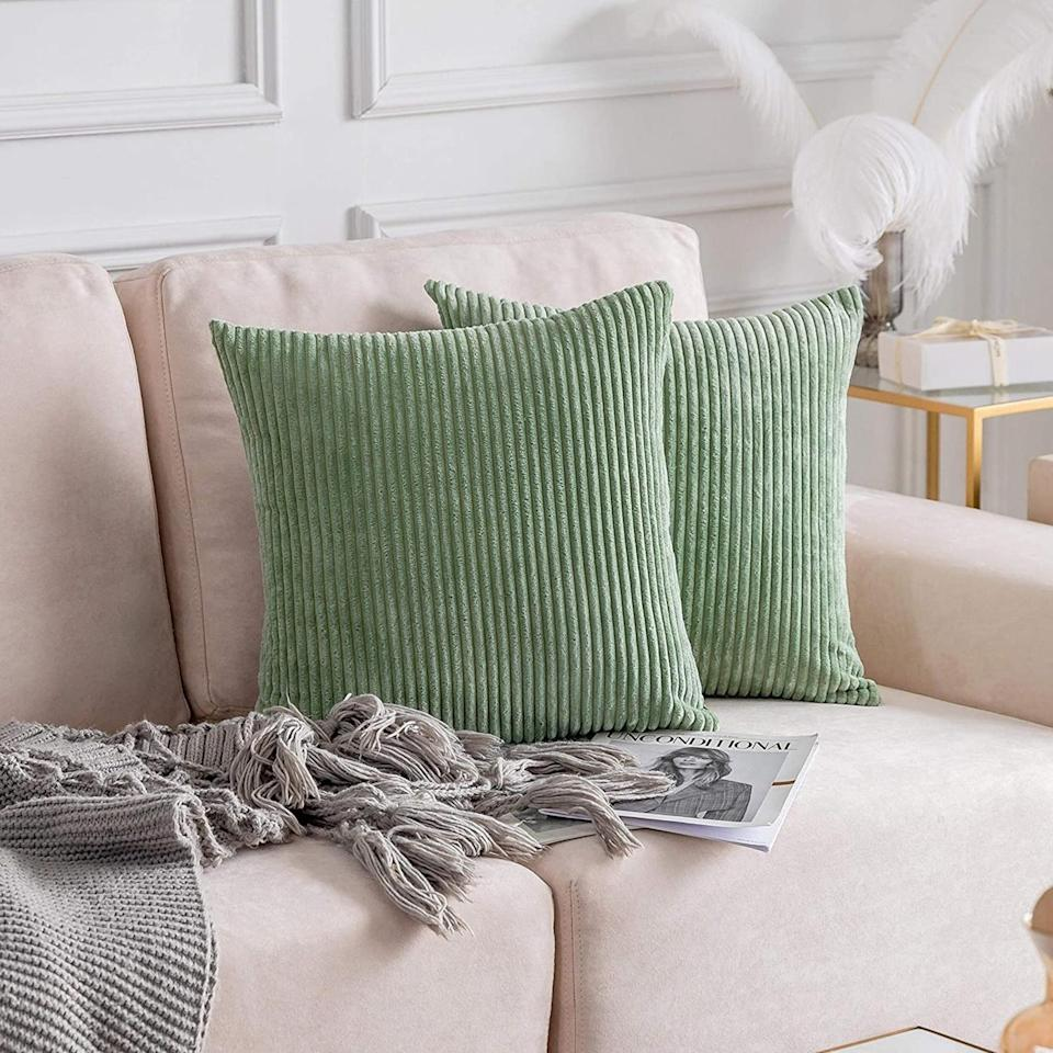 <p>We love the color and texture of these <span>Large Pillow Covers</span> ($32).</p>