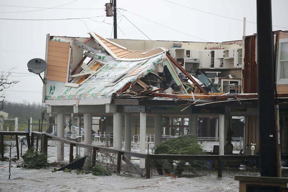 A damaged home is seen after Hurricane Harvey in Rockport.
