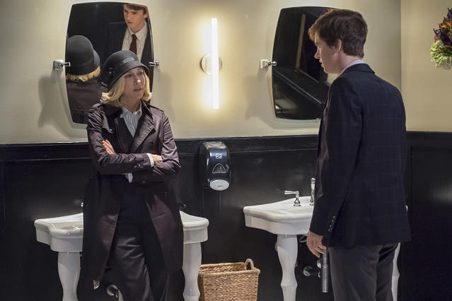 "<p>Emmy voters had one last chance to reward Freddie Highmore for <a href=""https://www.yahoo.com/tv/emmys-bates-motel-ep-kerry-ehrin-star-freddie-highmore-friendship-made-show-even-better-221458866.html"" data-ylk=""slk:his layered performance;outcm:mb_qualified_link;_E:mb_qualified_link"" class=""link rapid-noclick-resp newsroom-embed-article"">his layered performance</a> as spiraling Norman Bates, but the A&E drama's fine final season was completely forgotten. Another thing we won't (forgive and) forget: Vera Farmiga hadn't been nominated since Season 1. <i>— MB</i><br><br>(Photo: Cate Cameron/A&E Networks) </p>"