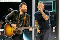 """<p>The collaborators took to the stage to perform their hit single """"Famous Friends."""" Brown <a href=""""https://people.com/country/kane-brown-becomes-first-black-solo-artist-to-win-acm-video-of-the-year-ahead-of-ceremony/"""" rel=""""nofollow noopener"""" target=""""_blank"""" data-ylk=""""slk:made history this year"""" class=""""link rapid-noclick-resp"""">made history this year</a> as the first Black solo artist to win the video of the year award for his powerful """"Worldwide Beautiful"""" music video, which features an emotional message about justice and equality. </p>"""