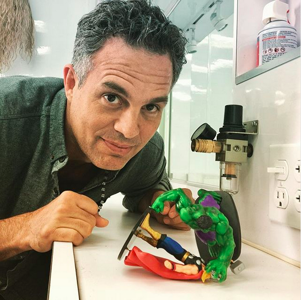 "<p>""Wait what? Who smashed who?"" the <em>Hulk</em> actor wrote during his action figure playtime. ""The fight of the century is coming,"" he teased, as a trailer for the new flick <em>Thor:Ragnarok</em>, also starring Chris Hemsworth, showed the superhero duo going head to head. (Photo: <a href=""https://www.instagram.com/p/BYqg7TxFkaD/?taken-by=markruffalo"" rel=""nofollow noopener"" target=""_blank"" data-ylk=""slk:Mark Ruffalo via Instagram"" class=""link rapid-noclick-resp"">Mark Ruffalo via Instagram</a>) </p>"
