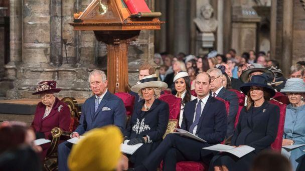 PHOTO: Britain's Queen Elizabeth II, Britain's Prince Charles, Britain's Camilla, Duchess of Cornwall, Britain's Prince William, Duke of Cambridge and Catherine, Duchess of Cambridge attend a Commonwealth Day Service. (Paul Grover/AFP/Getty Images)