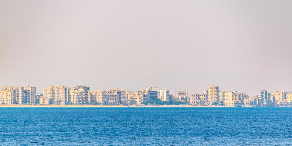 Seaside of Varosia with spectacular ruins of hotels, Famagusta, Cyprus