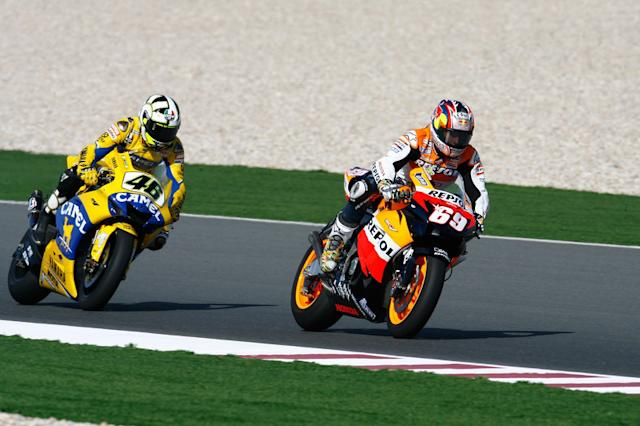 """Nicky Hayden and Valentino Rossi <span class=""""copyright"""">Repsol Media</span>"""