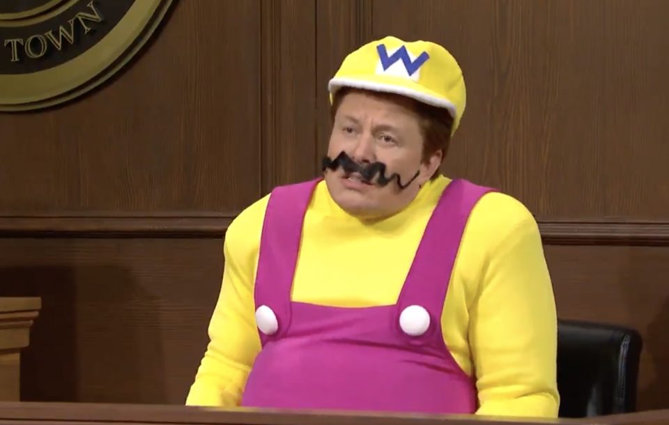 Elon Musk, dressed as Wario, during a Saturday Night Live skit.