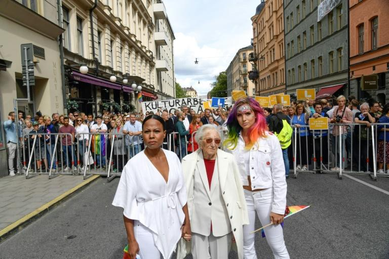 Among those who took to the streets of Stockholm to protest against the neo-Nazi rally was Swedish Culture minister Alice Bah Kuhnke and Holocaust survivor Hedi Fried