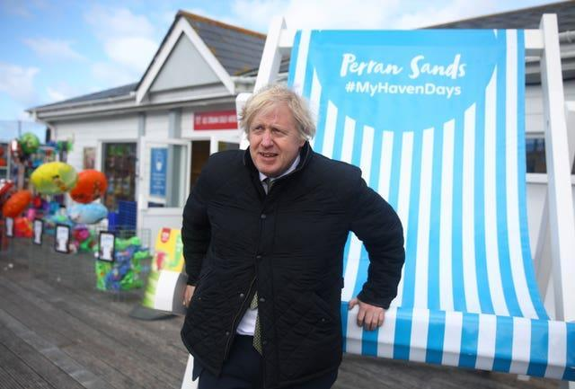 Prime Minister Boris Johnson during a visit to Haven Perran Sands Holiday Park in Perranporth