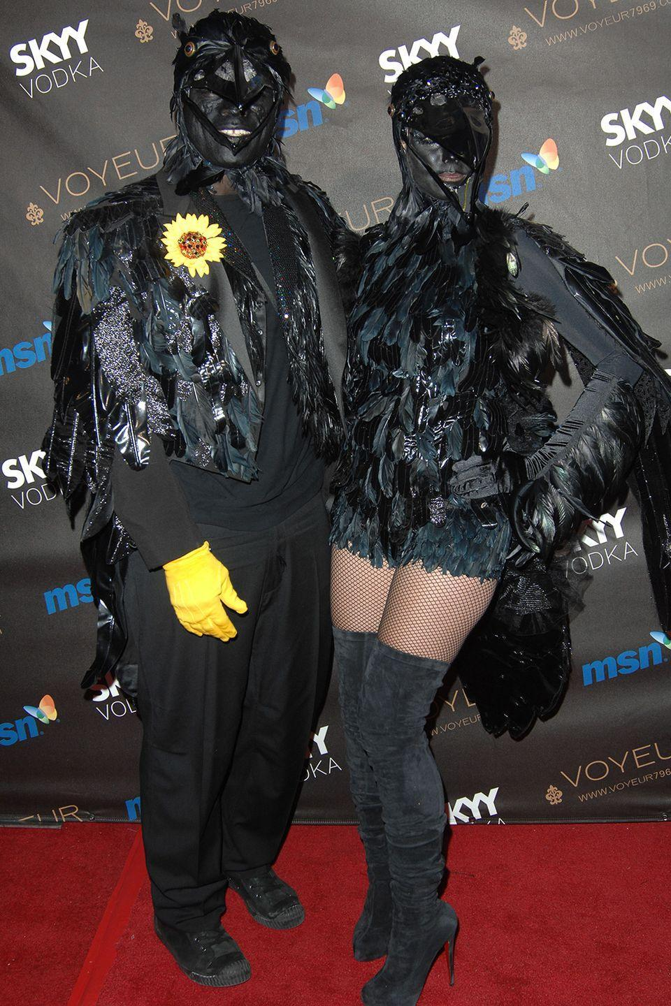 <p>In 2009, Seal and Heidi Klum showed up to her 10th Annual Halloween party impressively dressed as crows. I mean...check out their faces (or lack of them)!</p>
