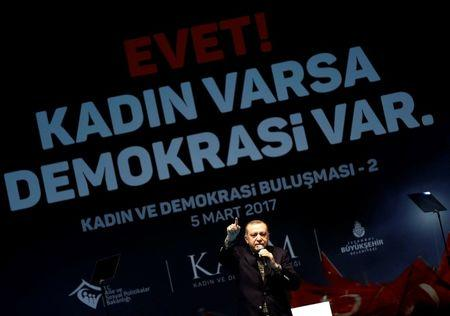 Turkish President Erdogan makes a speech during a Women's Day rally in Istanbul