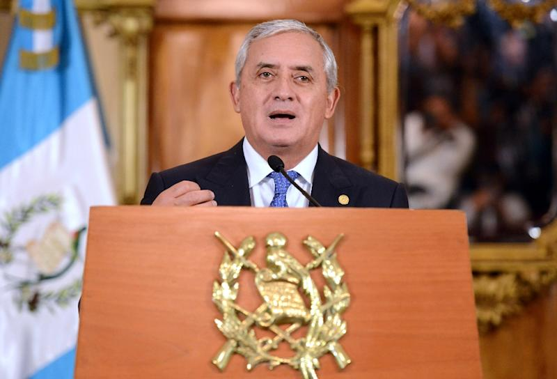 Guatemalan President Otto Perez speaks during a press conference at the presidential house in Guatemala City on August 31, 2015