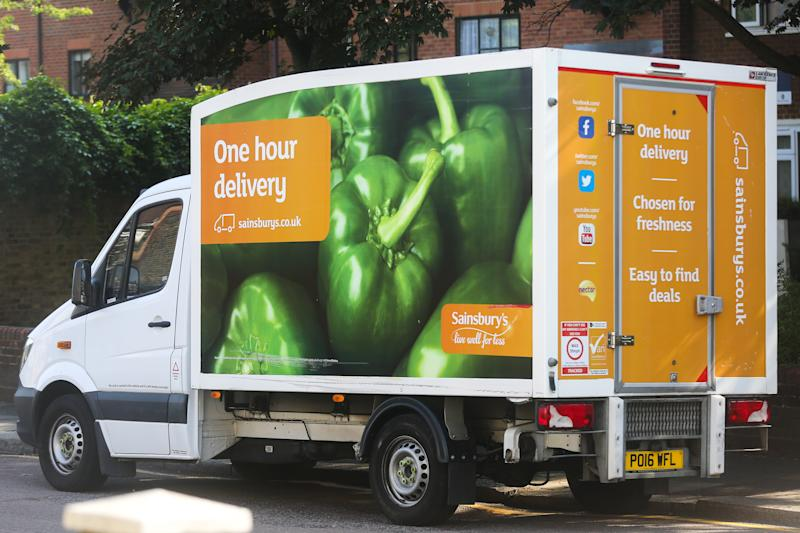 LONDON, UNITED KINGDOM - 2020/06/24: A Sainsbury's delivery van used for delivering groceries purchased online from Sainsbury's supermarket. (Photo by Steve Taylor/SOPA Images/LightRocket via Getty Images)