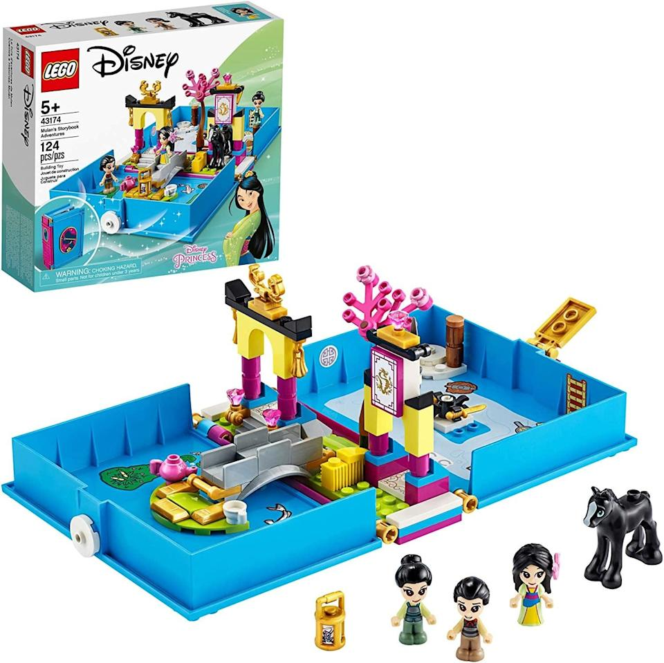 "<p><a href=""https://www.popsugar.com/buy/Lego-Disney-Mulan-Storybook-Adventures-551163?p_name=Lego%20Disney%20Mulan%27s%20Storybook%20Adventures&retailer=amazon.com&pid=551163&price=20&evar1=moms%3Aus&evar9=47244751&evar98=https%3A%2F%2Fwww.popsugar.com%2Ffamily%2Fphoto-gallery%2F47244751%2Fimage%2F47244762%2FLego-Disney-Mulan-Storybook-Adventures&list1=toys%2Clego%2Ctoy%20fair%2Ckid%20shopping%2Ckids%20toys&prop13=api&pdata=1"" class=""link rapid-noclick-resp"" rel=""nofollow noopener"" target=""_blank"" data-ylk=""slk:Lego Disney Mulan's Storybook Adventures"">Lego Disney Mulan's Storybook Adventures</a> ($20) has 124 pieces and is best suited for kids ages 5 and up.</p>"