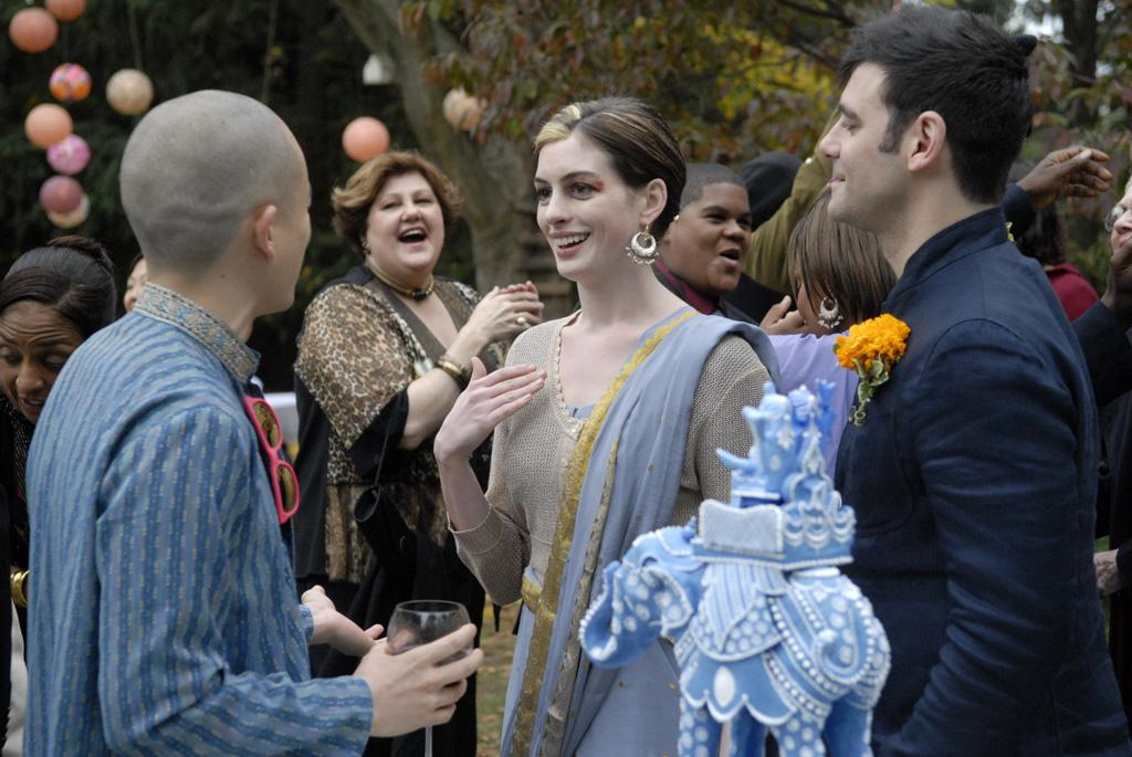 """<a href=""""http://movies.yahoo.com/movie/contributor/1804705919"""">Anne Hathaway</a> and <a href=""""http://movies.yahoo.com/movie/contributor/1808873075"""">Mather Zickel</a> in Sony Pictures Classics' <a href=""""http://movies.yahoo.com/movie/1809961213/info"""">Rachel Getting Married</a> - 2008"""