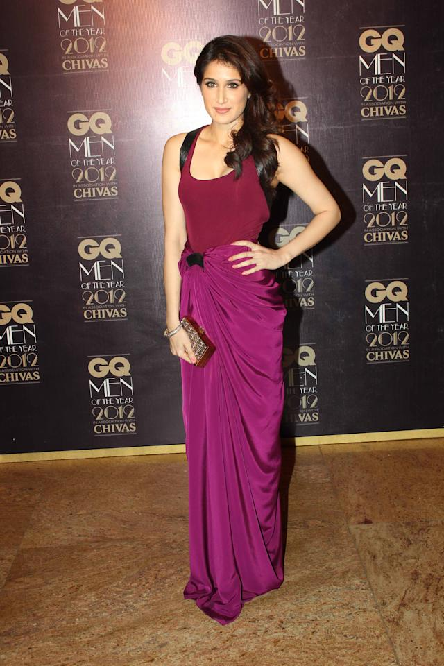 Sagarika Ghatge's gown is really unique in its cut it's truly flattering her.