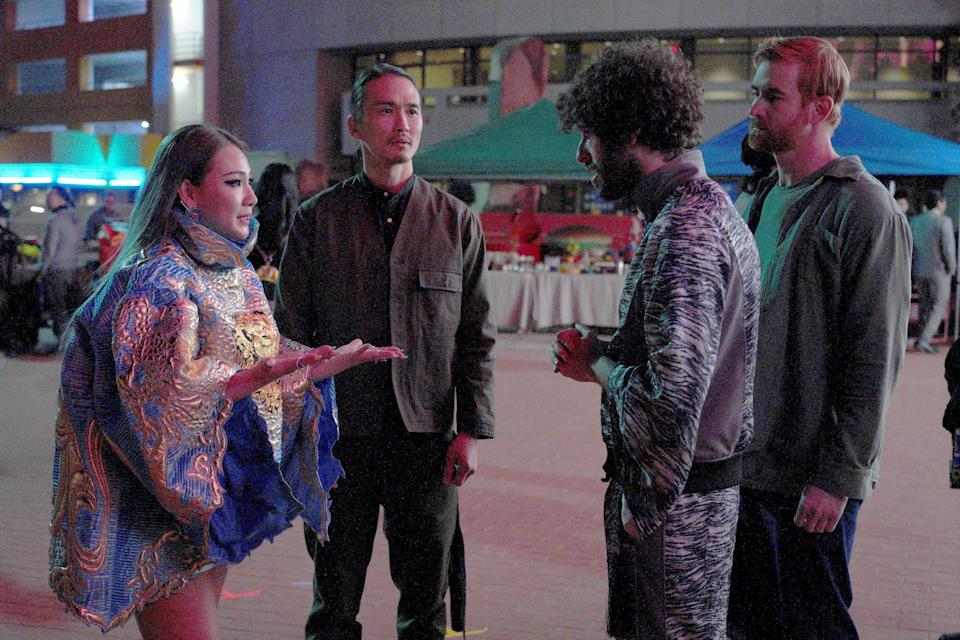 """Dave (Dave Burd), second from right, and his manager Mike (Andrew Santino), right, talk to Korean rap star CL (playing herself), left, and her manager, Jae (Karl Yune), in the second-season premiere of FXX's """"Dave."""""""