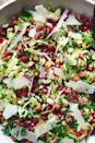 "<p>Making a Brussels sprouts salad sounds intimidating, but it doesn't actually require much prep. Tossed with a combo of toasted almonds, shaved Parmesan, and pomegranate seeds, it's the best side for any get-together. </p><p>Get the <a href=""https://www.delish.com/uk/cooking/recipes/a29696085/brussels-sprouts-salad-recipe/"" rel=""nofollow noopener"" target=""_blank"" data-ylk=""slk:Parmesan Brussels Sprouts Salad"" class=""link rapid-noclick-resp"">Parmesan Brussels Sprouts Salad</a> recipe.</p>"