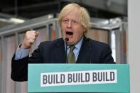 Britain's Prime Minister Boris Johnson delivers a speech during his visit to Dudley College of Technology in Dudley