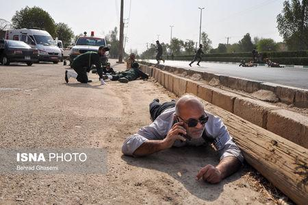 A general view shows an attack on a military parade in Ahvaz Iran in this