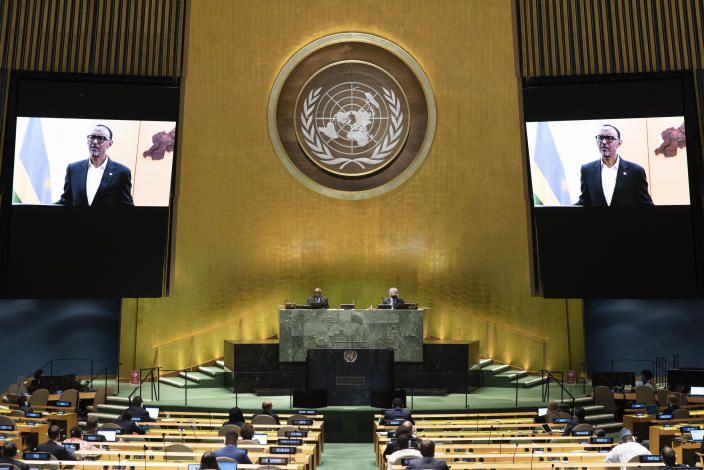 In this photo provided by the United Nations, Rwanda President Paul Kagame's pre-recorded message is played during the 75th session of the United Nations General Assembly, Tuesday, Sept. 22, 2020, at U.N. headquarters in New York. The U.N.'s first virtual meeting of world leaders started Tuesday with pre-recorded speeches from some of the planet's biggest powers, kept at home by the coronavirus pandemic that will likely be a dominant theme at their video gathering this year. (Evan Schneider/UN Photo via AP)
